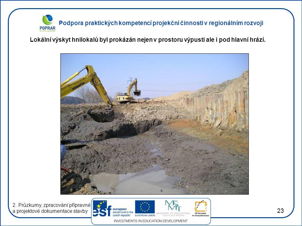 Podpora praktických kompetencí projekční činnosti v regionálním rozvoji 23 2. Průzkumy, zpracování přípravné a projektové dokumentace stavby Lokální v