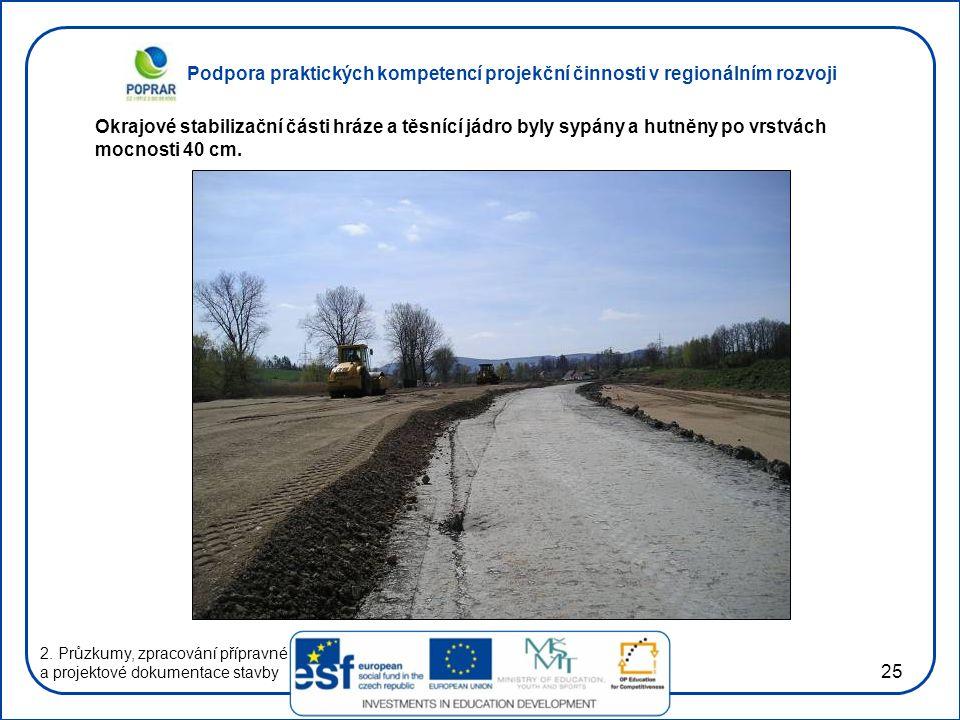 Podpora praktických kompetencí projekční činnosti v regionálním rozvoji 25 2. Průzkumy, zpracování přípravné a projektové dokumentace stavby Okrajové