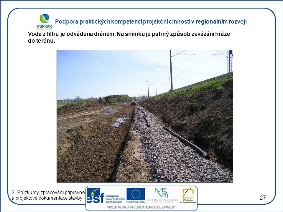 Podpora praktických kompetencí projekční činnosti v regionálním rozvoji 27 2. Průzkumy, zpracování přípravné a projektové dokumentace stavby Voda z fi