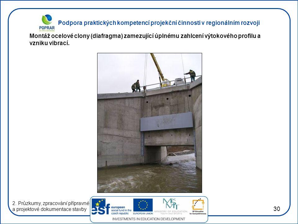 Podpora praktických kompetencí projekční činnosti v regionálním rozvoji 30 2. Průzkumy, zpracování přípravné a projektové dokumentace stavby Montáž oc