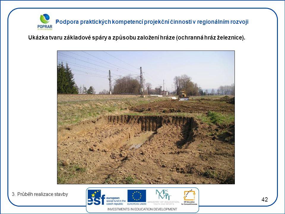 Podpora praktických kompetencí projekční činnosti v regionálním rozvoji 42 3. Průběh realizace stavby Ukázka tvaru základové spáry a způsobu založení