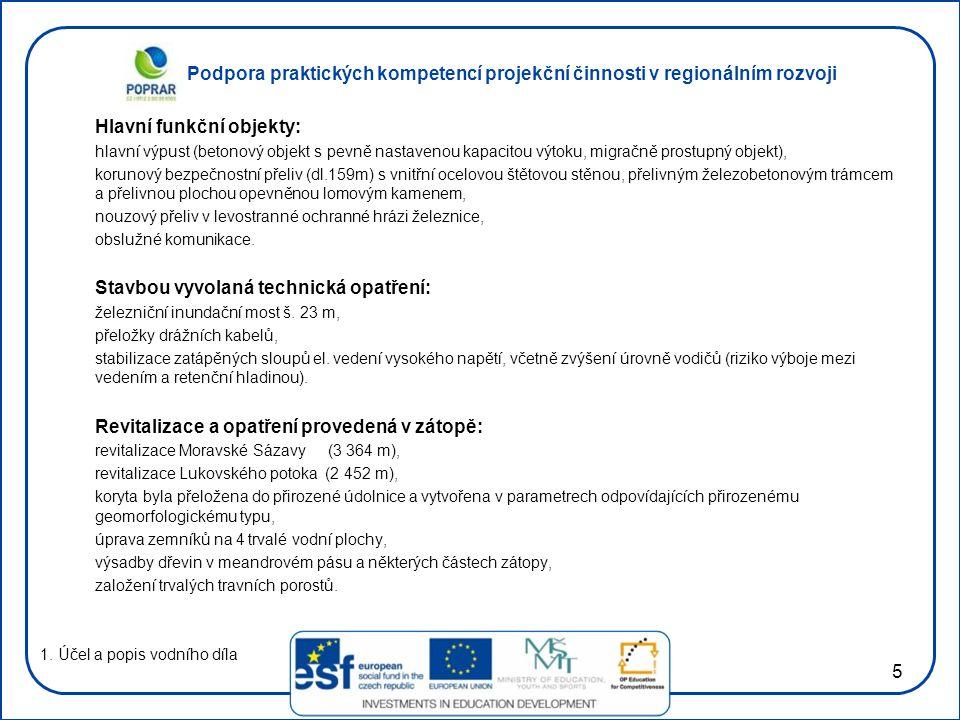 Podpora praktických kompetencí projekční činnosti v regionálním rozvoji 5 Hlavní funkční objekty: hlavní výpust (betonový objekt s pevně nastavenou ka