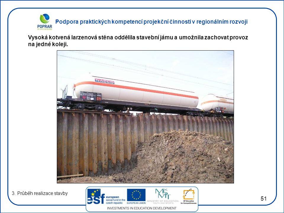 Podpora praktických kompetencí projekční činnosti v regionálním rozvoji 51 3. Průběh realizace stavby Vysoká kotvená larzenová stěna oddělila stavební