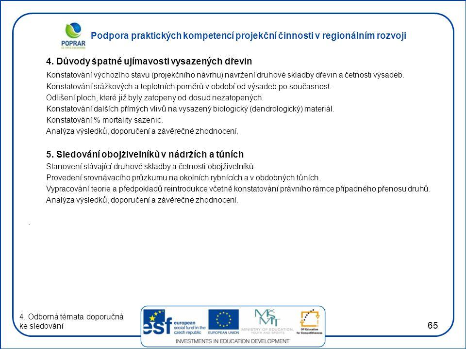 Podpora praktických kompetencí projekční činnosti v regionálním rozvoji 65 4. Důvody špatné ujímavosti vysazených dřevin Konstatování výchozího stavu