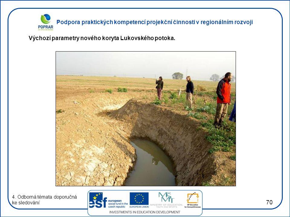 Podpora praktických kompetencí projekční činnosti v regionálním rozvoji 70 4. Odborná témata doporučná ke sledování Výchozí parametry nového koryta Lu