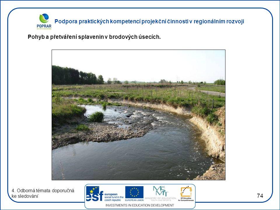 Podpora praktických kompetencí projekční činnosti v regionálním rozvoji 74 4. Odborná témata doporučná ke sledování Pohyb a přetváření splavenin v bro