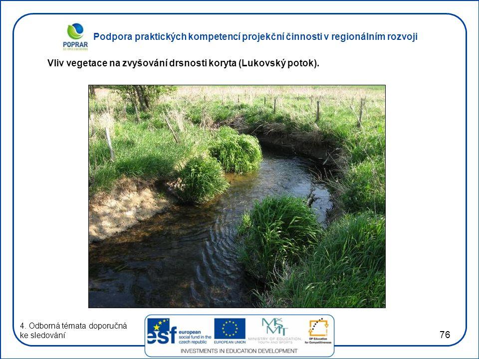 Podpora praktických kompetencí projekční činnosti v regionálním rozvoji 76 4. Odborná témata doporučná ke sledování Vliv vegetace na zvyšování drsnost