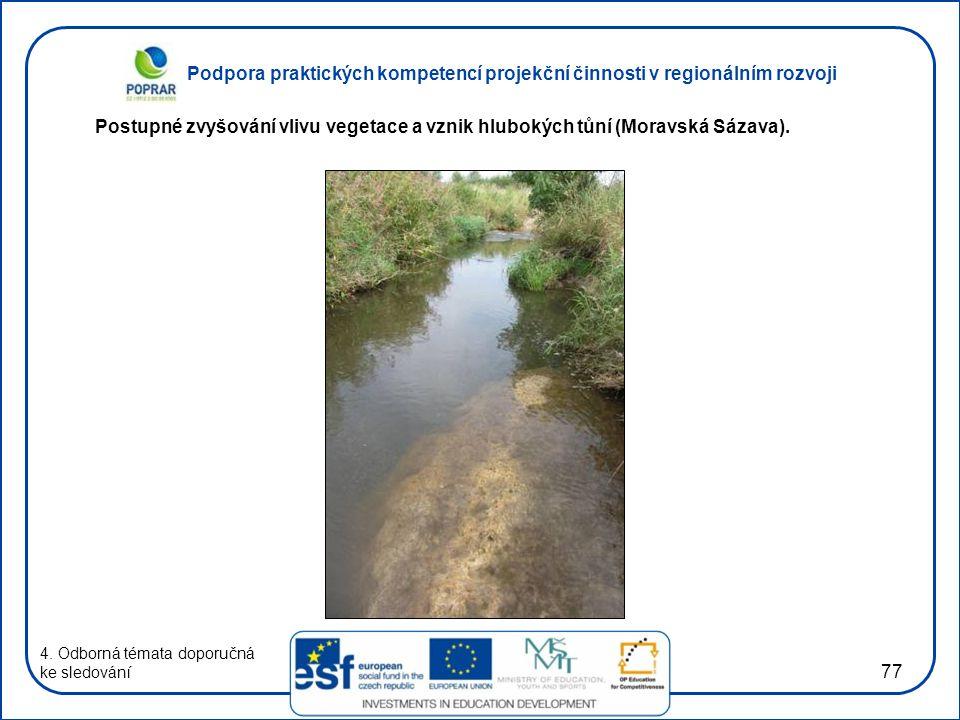 Podpora praktických kompetencí projekční činnosti v regionálním rozvoji 77 4. Odborná témata doporučná ke sledování Postupné zvyšování vlivu vegetace