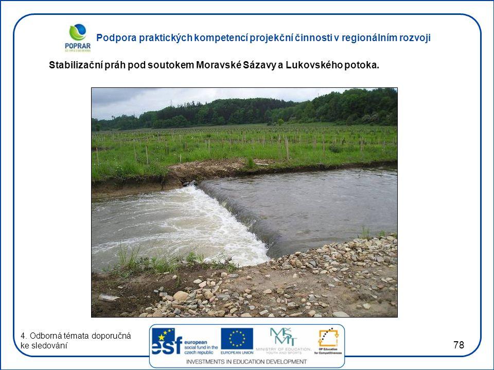 Podpora praktických kompetencí projekční činnosti v regionálním rozvoji 78 4. Odborná témata doporučná ke sledování Stabilizační práh pod soutokem Mor