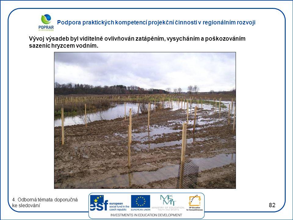 Podpora praktických kompetencí projekční činnosti v regionálním rozvoji 82 4. Odborná témata doporučná ke sledování Vývoj výsadeb byl viditelně ovlivň