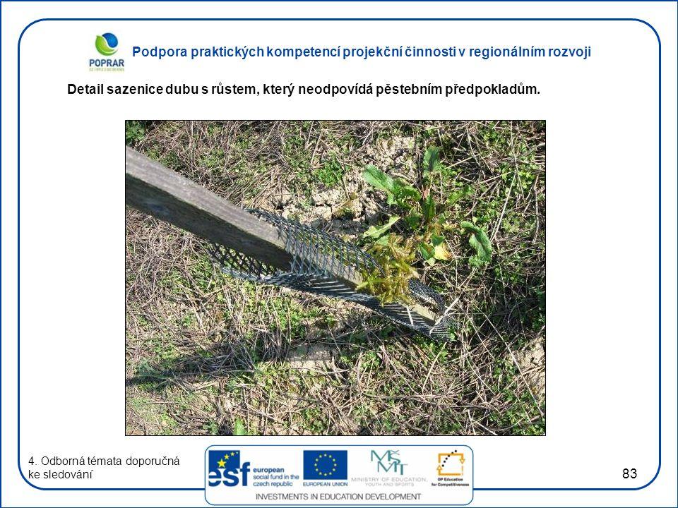 Podpora praktických kompetencí projekční činnosti v regionálním rozvoji 83 4. Odborná témata doporučná ke sledování Detail sazenice dubu s růstem, kte