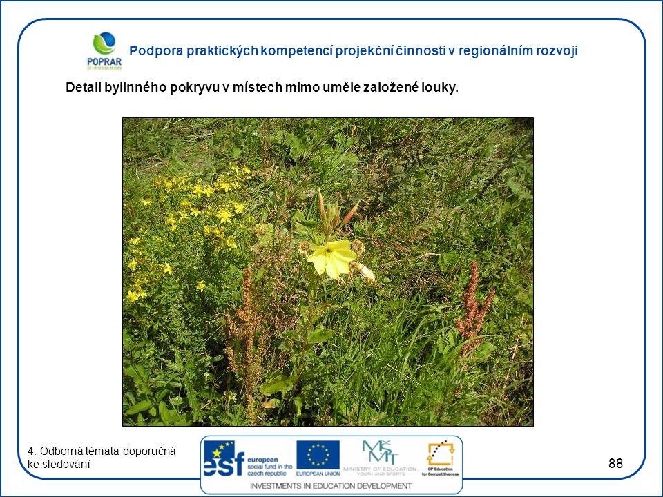 Podpora praktických kompetencí projekční činnosti v regionálním rozvoji 88 4. Odborná témata doporučná ke sledování Detail bylinného pokryvu v místech
