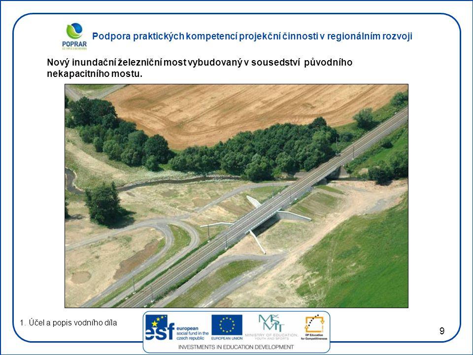 Podpora praktických kompetencí projekční činnosti v regionálním rozvoji 9 1. Účel a popis vodního díla Nový inundační železniční most vybudovaný v sou