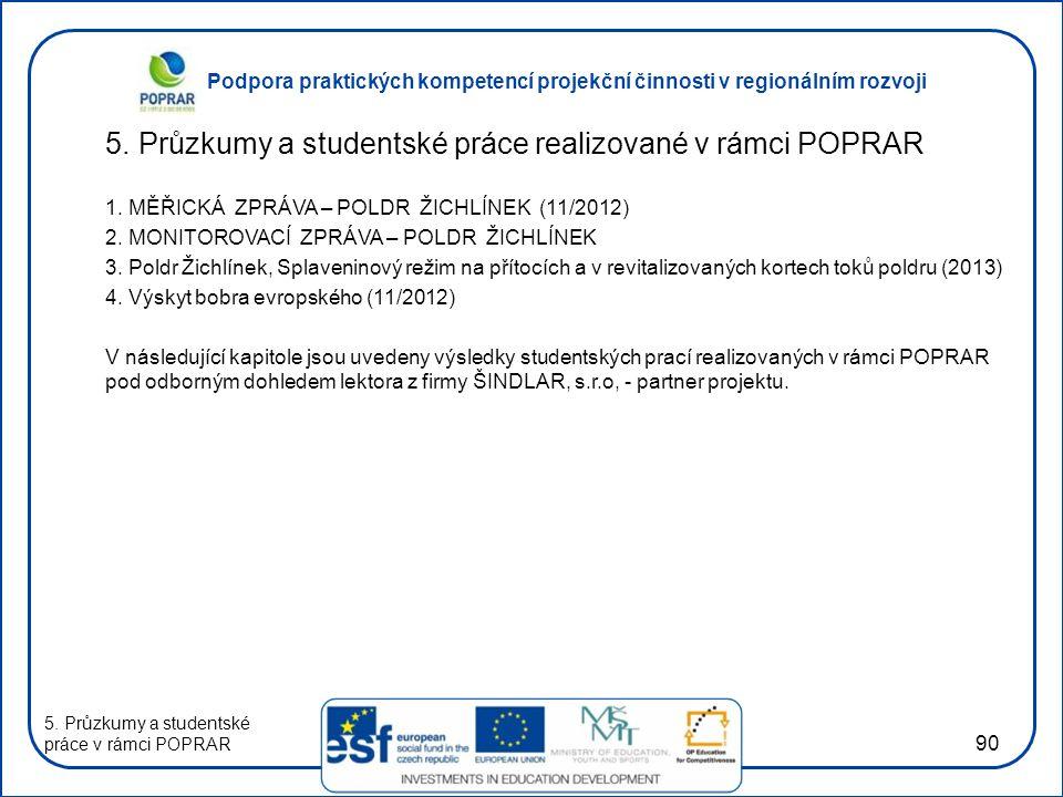 Podpora praktických kompetencí projekční činnosti v regionálním rozvoji 90 5.