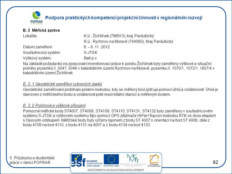Podpora praktických kompetencí projekční činnosti v regionálním rozvoji 92 B. 3 Měřická zpráva Lokalita:K.ú.: Žichlínek (796913), kraj Pardubický K.ú.