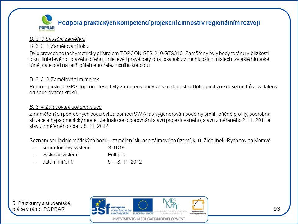 Podpora praktických kompetencí projekční činnosti v regionálním rozvoji 93 B. 3. 3 Situační zaměření B. 3. 3. 1 Zaměřování toku Bylo provedeno tachyme