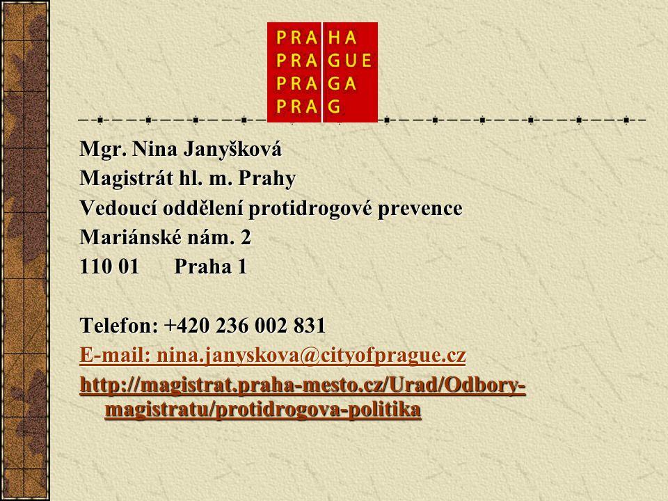 Mgr. Nina Janyšková Magistrát hl. m. Prahy Vedoucí oddělení protidrogové prevence Mariánské nám.