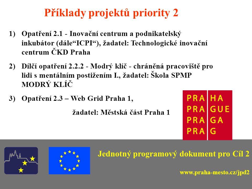 Příklady projektů priority 2 1)Opatření 2.1 - Inovační centrum a podnikatelský inkubátor (dále ICPI ), žadatel: Technologické inovační centrum ČKD Praha 2)Dílčí opatření 2.2.2 - Modrý klíč - chráněná pracoviště pro lidi s mentálním postižením I., žadatel: Škola SPMP MODRÝ KLÍČ 3)Opatření 2.3 – Web Grid Praha 1, žadatel: Městská část Praha 1 Jednotný programový dokument pro Cíl 2 www.praha-mesto.cz/jpd2