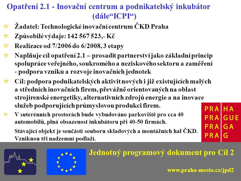Opatření 2.1 - Inovační centrum a podnikatelský inkubátor (dále ICPI ) Jednotný programový dokument pro Cíl 2 www.praha-mesto.cz/jpd2 Současný stav - pohled od jihu (od haly SAZKA) TIC ČKD Praha 2007