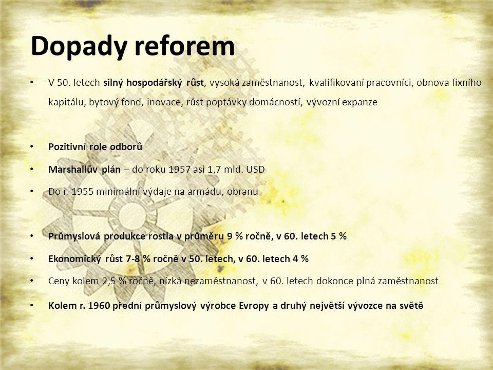 Dopady reforem V 50. letech silný hospodářský růst, vysoká zaměstnanost, kvalifikovaní pracovníci, obnova fixního kapitálu, bytový fond, inovace, růst