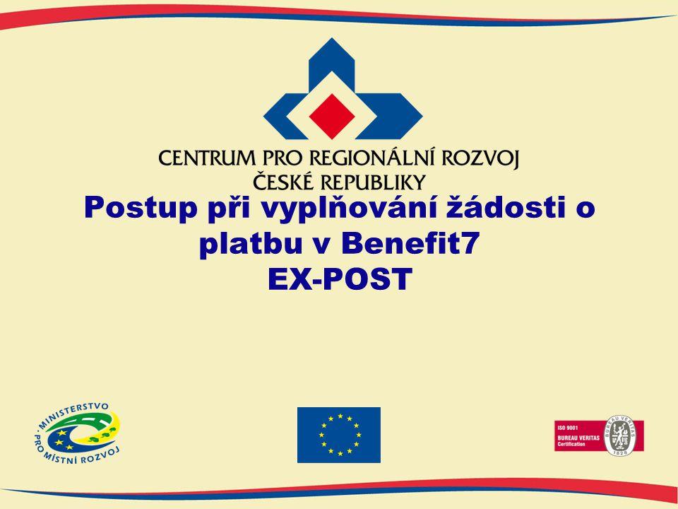 Postup při vyplňování žádosti o platbu v Benefit7 EX-POST