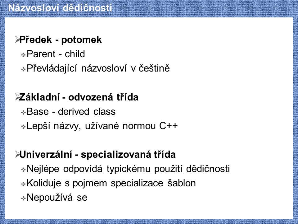Názvosloví dědičnosti  Předek - potomek  Parent - child  Převládající názvosloví v češtině  Základní - odvozená třída  Base - derived class  Lep
