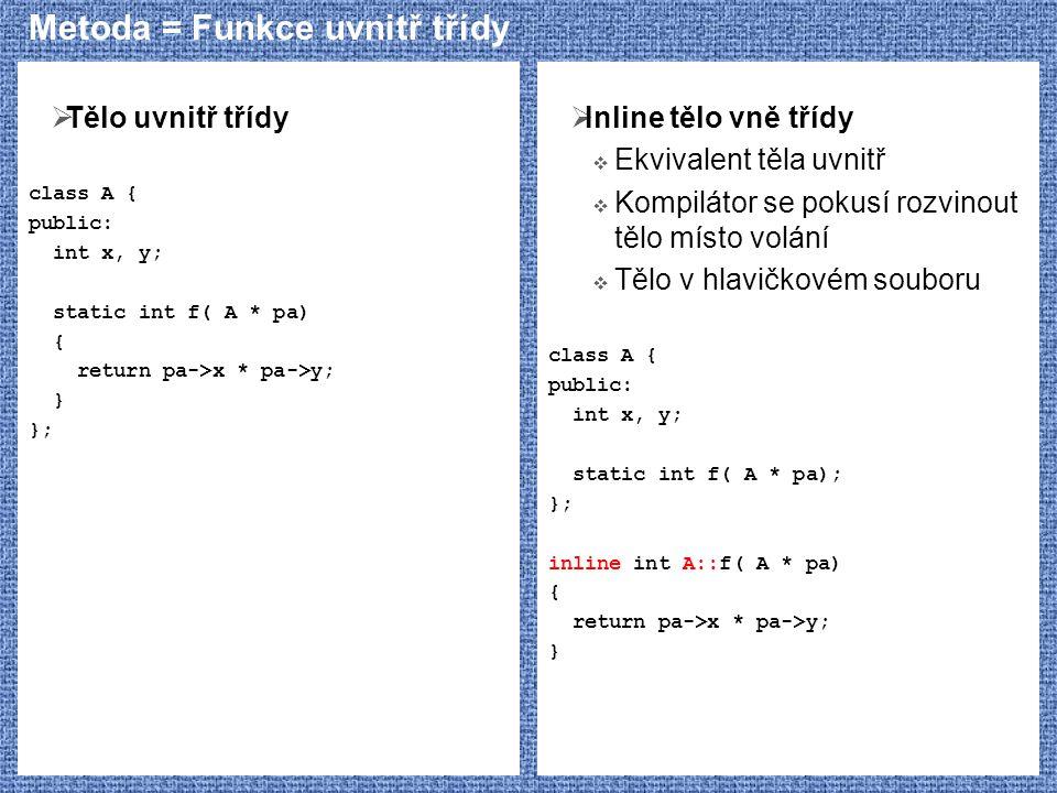 Metoda = Funkce uvnitř třídy  Tělo uvnitř třídy class A { public: int x, y; static int f( A * pa) { return pa->x * pa->y; } };  Inline tělo vně tříd