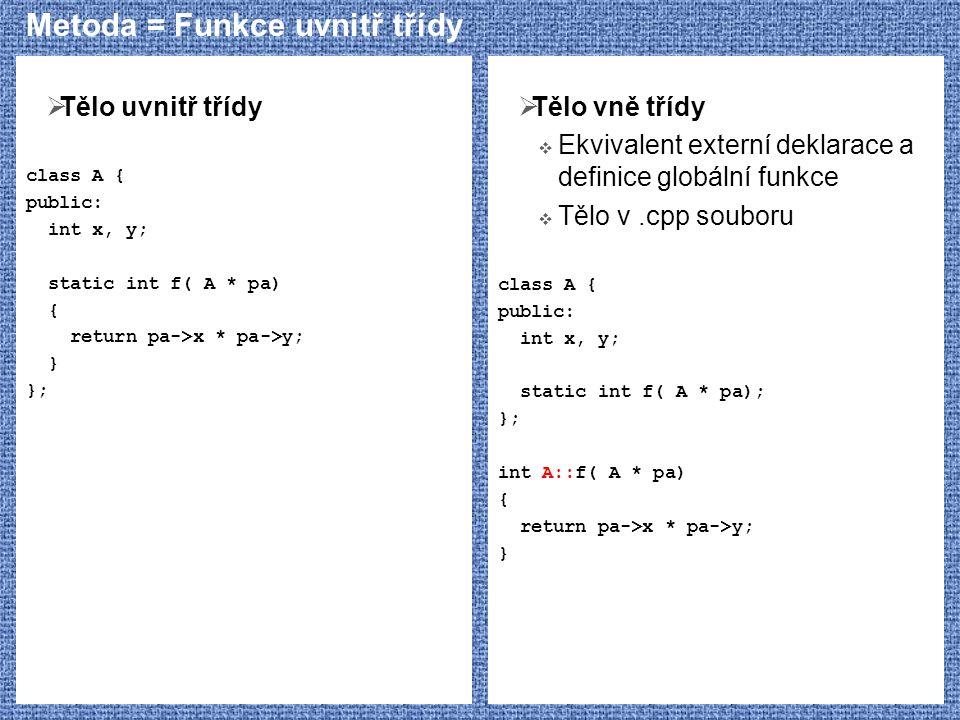Metoda = Funkce uvnitř třídy  Tělo uvnitř třídy class A { public: int x, y; static int f( A * pa) { return pa->x * pa->y; } };  Tělo vně třídy  Ekv