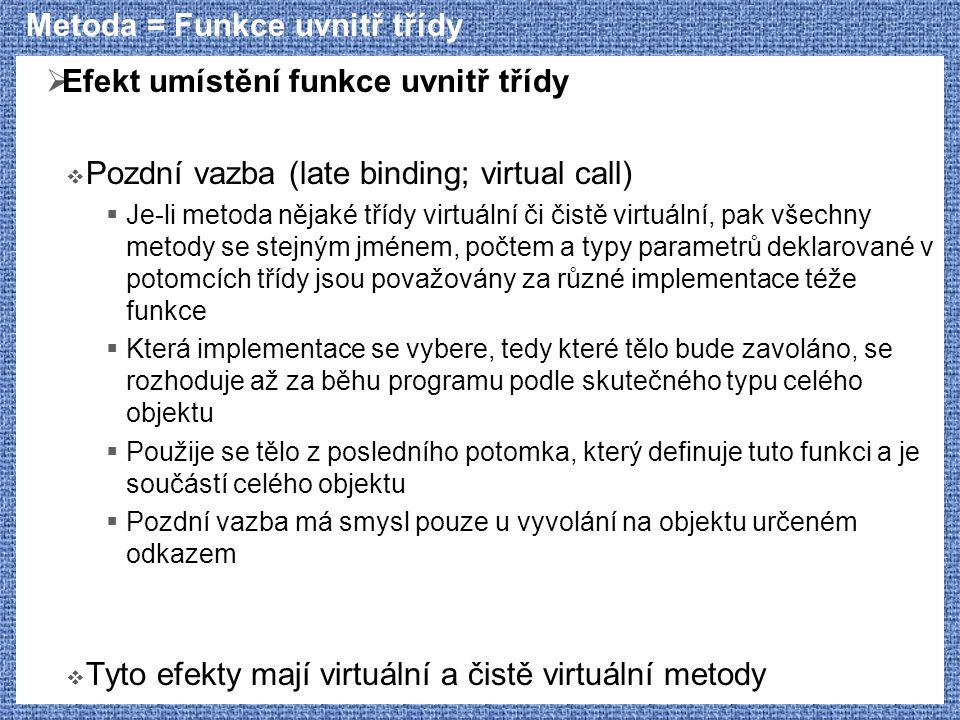 Metoda = Funkce uvnitř třídy  Efekt umístění funkce uvnitř třídy  Pozdní vazba (late binding; virtual call)  Je-li metoda nějaké třídy virtuální či