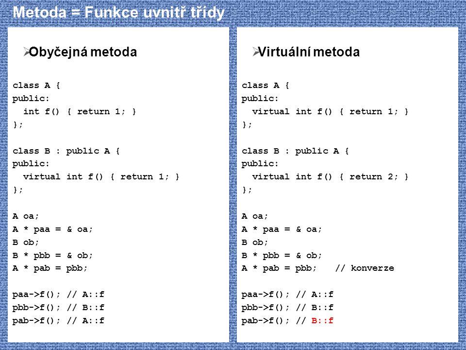 Metoda = Funkce uvnitř třídy  Obyčejná metoda class A { public: int f() { return 1; } }; class B : public A { public: virtual int f() { return 1; } }