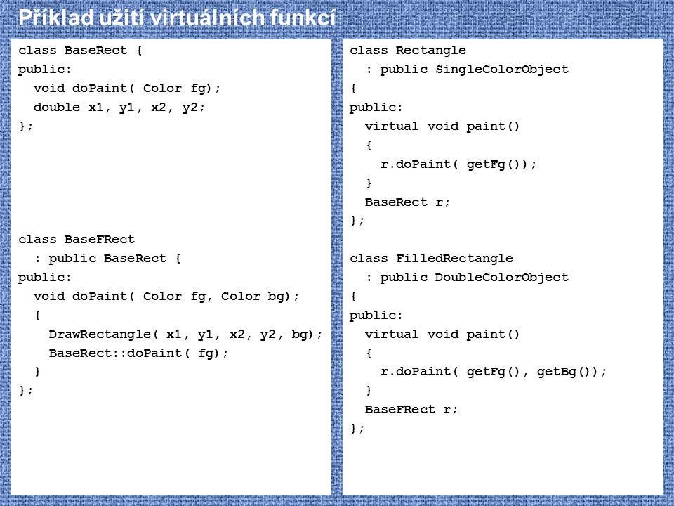Příklad užití virtuálních funkcí class BaseRect { public: void doPaint( Color fg); double x1, y1, x2, y2; }; class BaseFRect : public BaseRect { publi