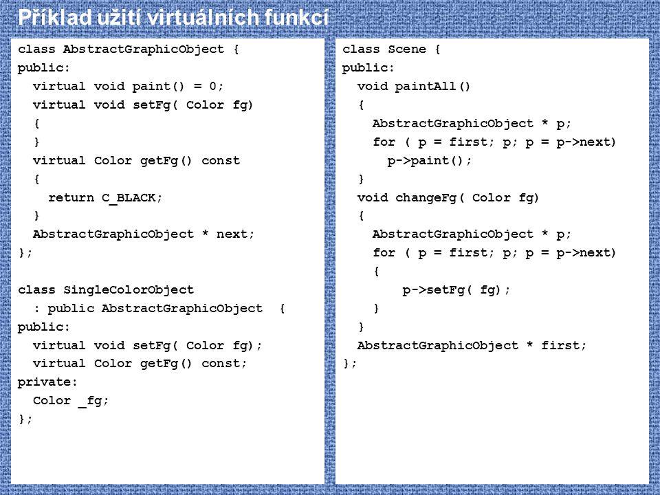 Příklad užití virtuálních funkcí class AbstractGraphicObject { public: virtual void paint() = 0; virtual void setFg( Color fg) { } virtual Color getFg
