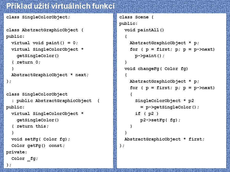 Příklad užití virtuálních funkcí class SingleColorObject; class AbstractGraphicObject { public: virtual void paint() = 0; virtual SingleColorObject *