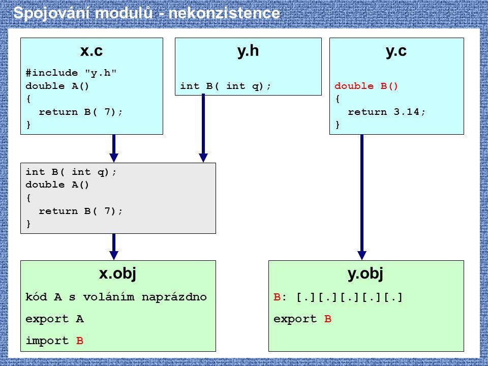 Spojování modulů - nekonzistence x.c #include