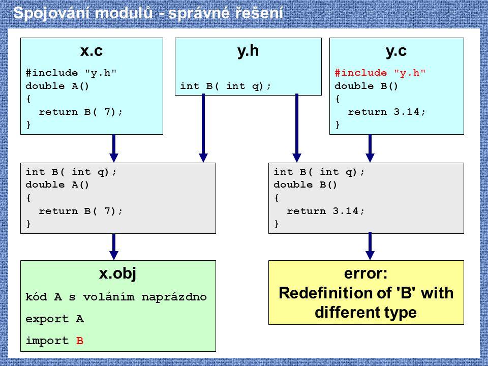 Spojování modulů - správné řešení x.c #include