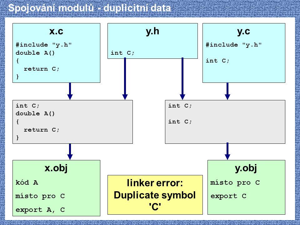 Spojování modulů - duplicitní data x.c #include