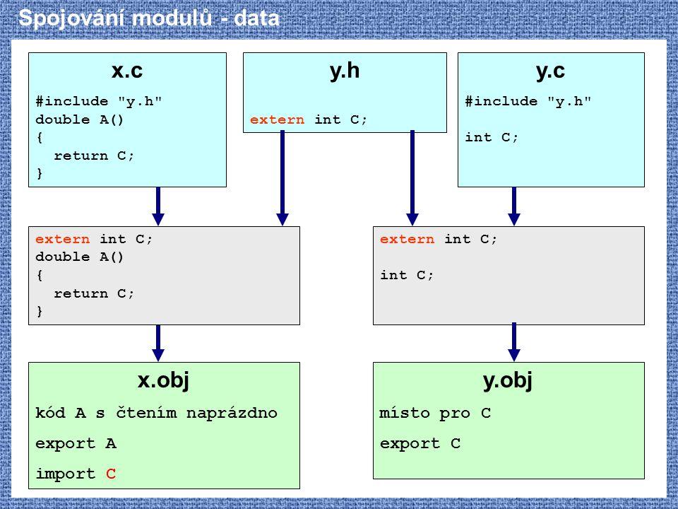 Spojování modulů - data x.c #include