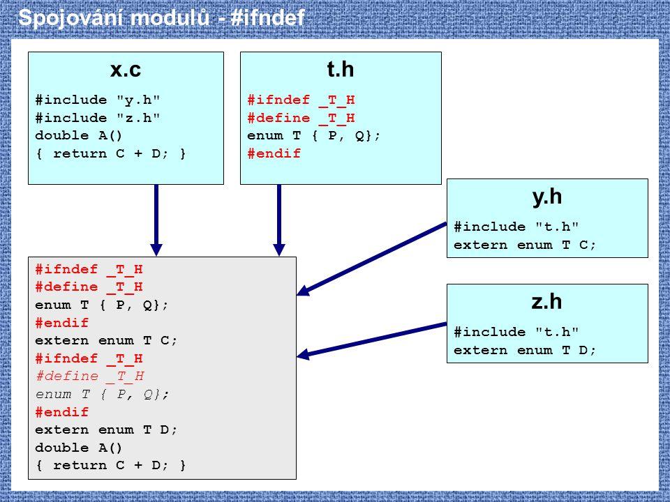 Spojování modulů - #ifndef x.c #include
