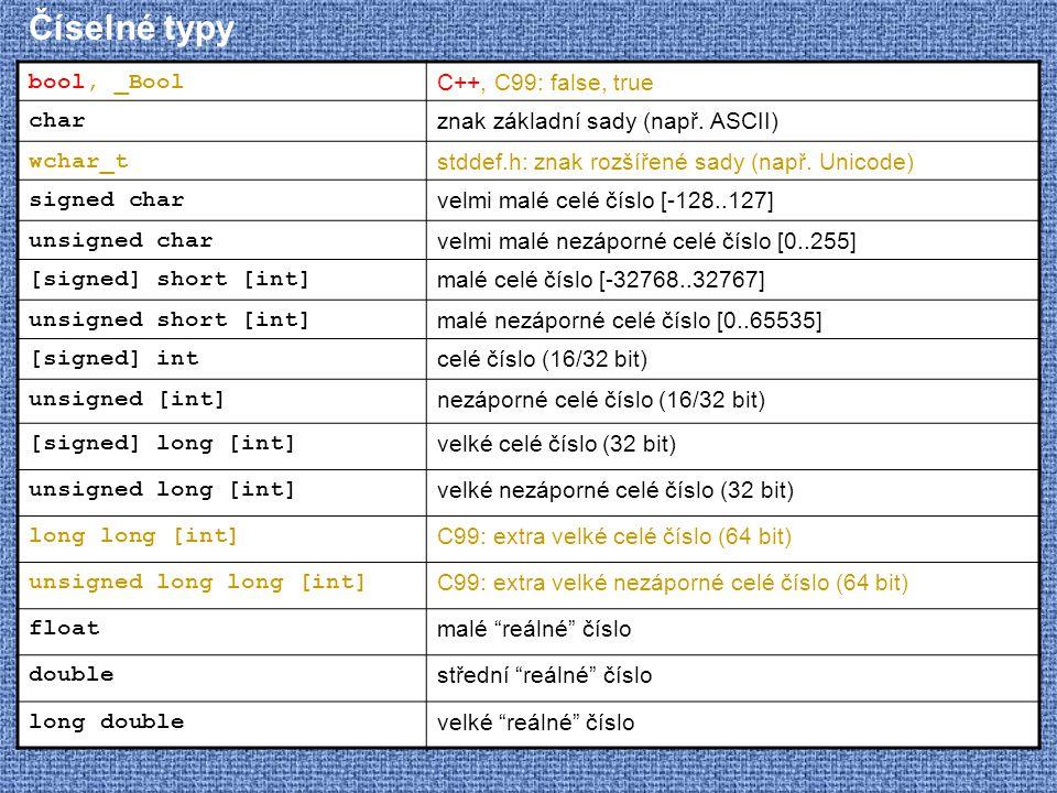 Číselné typy bool, _Bool C++, C99: false, true char znak základní sady (např. ASCII) wchar_t stddef.h: znak rozšířené sady (např. Unicode) signed char
