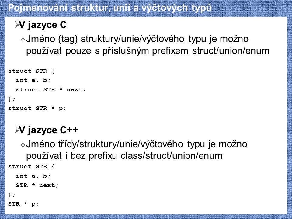 Pojmenování struktur, unií a výčtových typů  V jazyce C  Jméno (tag) struktury/unie/výčtového typu je možno používat pouze s příslušným prefixem str