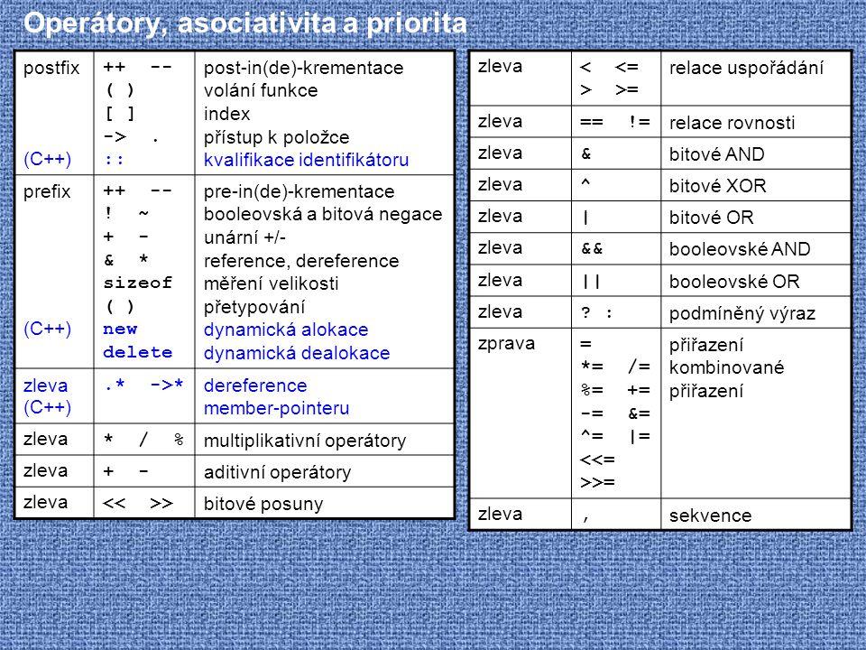Operátory, asociativita a priorita zleva >= relace uspořádání zleva == != relace rovnosti zleva & bitové AND zleva ^ bitové XOR zleva | bitové OR zlev