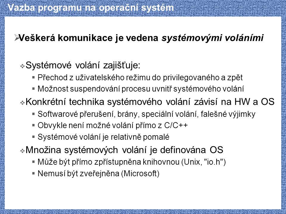 Vazba programu na operační systém  Veškerá komunikace je vedena systémovými voláními  Systémové volání zajišťuje:  Přechod z uživatelského režimu d
