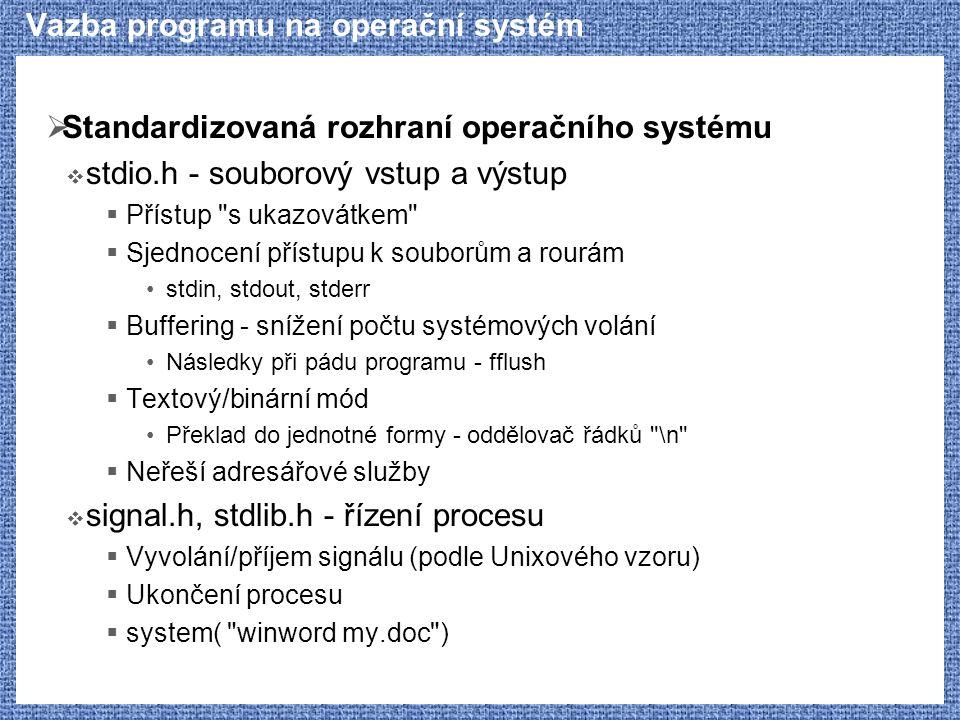 Vazba programu na operační systém  Standardizovaná rozhraní operačního systému  stdio.h - souborový vstup a výstup  Přístup