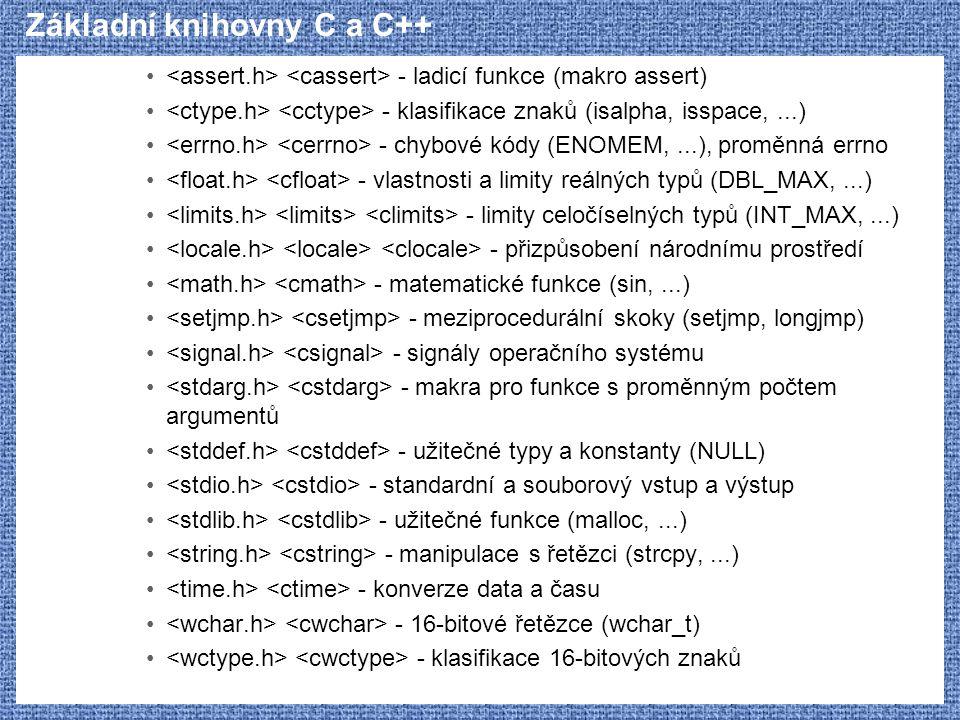 Základní knihovny C a C++ - ladicí funkce (makro assert) - klasifikace znaků (isalpha, isspace,...) - chybové kódy (ENOMEM,...), proměnná errno - vlas