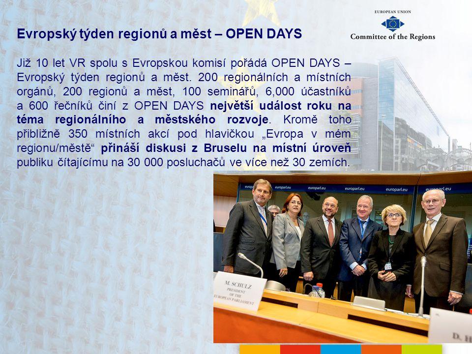 Evropský týden regionů a měst – OPEN DAYS Již 10 let VR spolu s Evropskou komisí pořádá OPEN DAYS – Evropský týden regionů a měst.