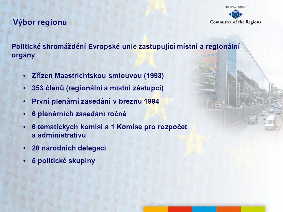 Výbor regionů Politické shromáždění Evropské unie zastupující místní a regionální orgány Zřízen Maastrichtskou smlouvou (1993) 353 členů (regionální a místní zástupci) První plenární zasedání v březnu 1994 6 plenárních zasedání ročně 6 tematických komisí a 1 Komise pro rozpočet a administrativu 28 národních delegací 5 politické skupiny