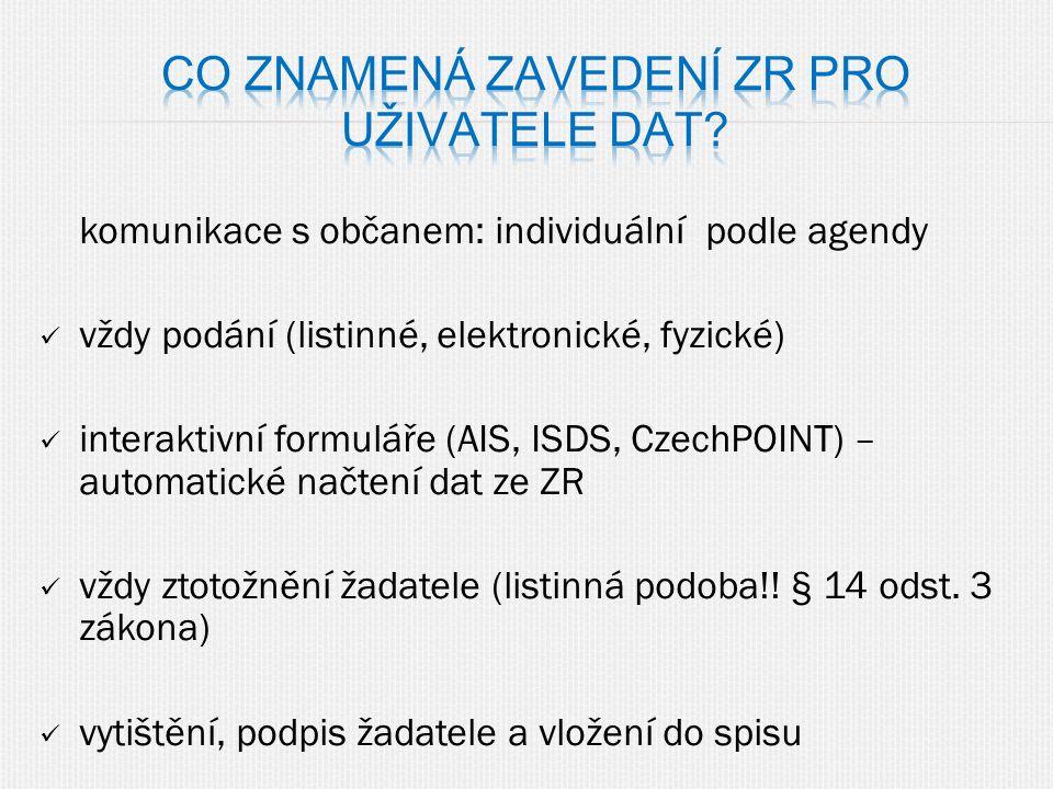 komunikace s občanem: individuální podle agendy vždy podání (listinné, elektronické, fyzické) interaktivní formuláře (AIS, ISDS, CzechPOINT) – automat