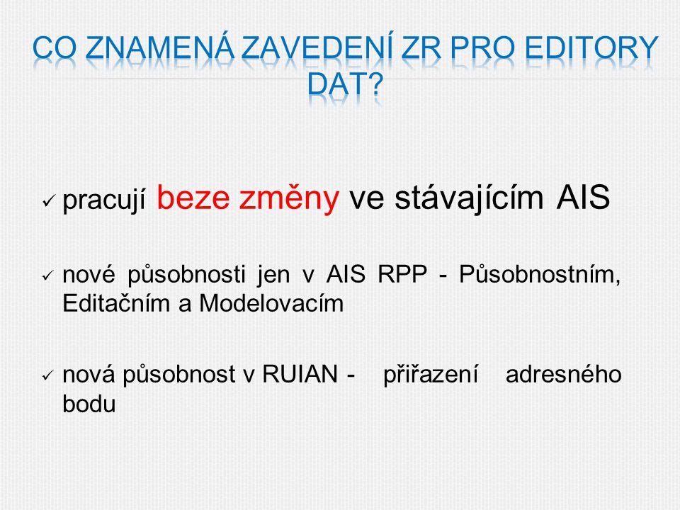 pracují beze změny ve stávajícím AIS nové působnosti jen v AIS RPP - Působnostním, Editačním a Modelovacím nová působnost v RUIAN - přiřazení adresného bodu