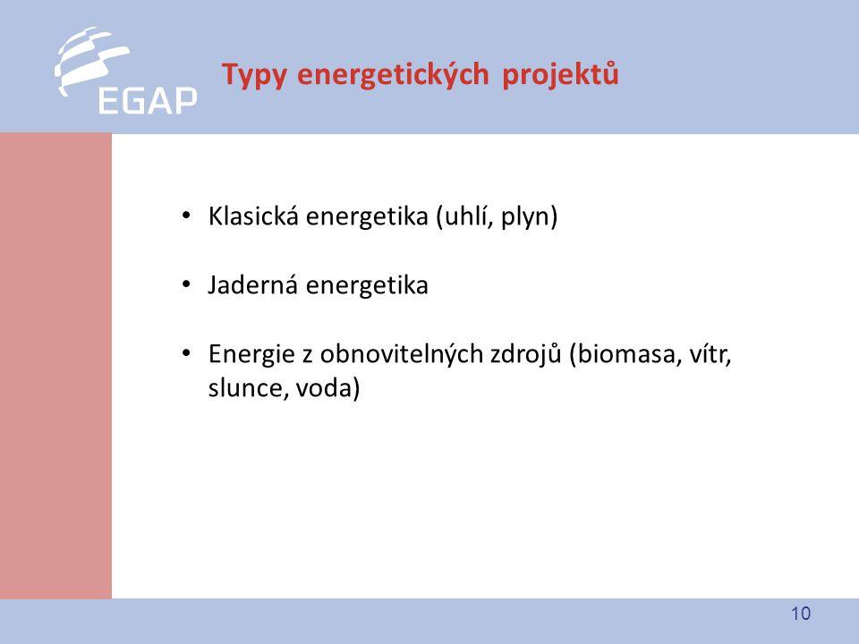 10 Typy energetických projektů Klasická energetika (uhlí, plyn) Jaderná energetika Energie z obnovitelných zdrojů (biomasa, vítr, slunce, voda)