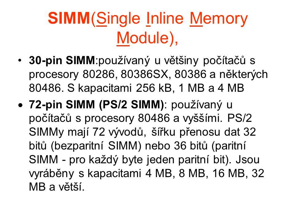 SIMM(Single Inline Memory Module), 30-pin SIMM:používaný u většiny počítačů s procesory 80286, 80386SX, 80386 a některých 80486. S kapacitami 256 kB,
